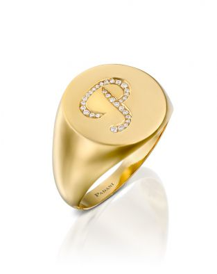 Signet Ring Diamonds Initial