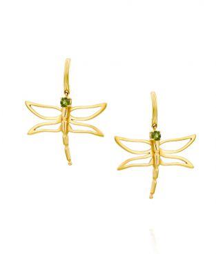 Dragonfly Earrings Green Tourmaline