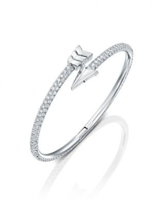 Flow Stiff Bracelet-White Diamonds