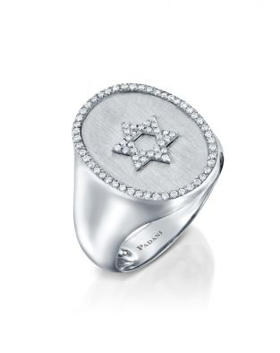 Signet Star Of David Diamonds Ring