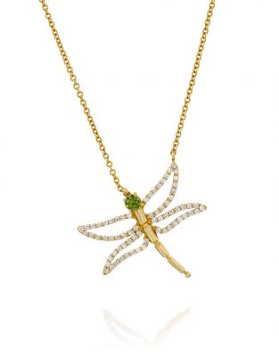 Dragonfly Green Tourmaline Necklace