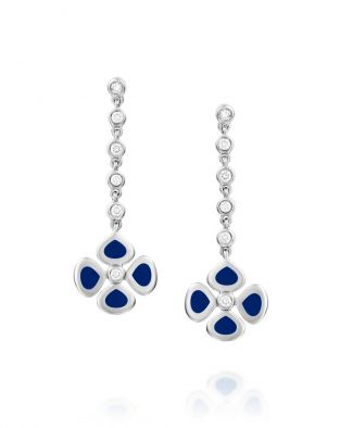 Violetto Blue Enamel Long Earrings