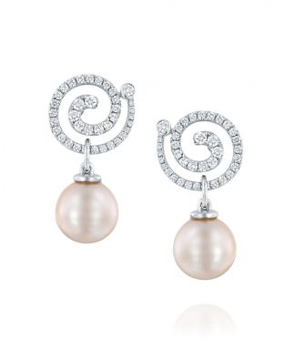 Nautilus Spiral Pearl & Diamonds Earrings