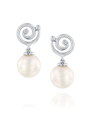 Nautilus Pearl & Spiral Earrings