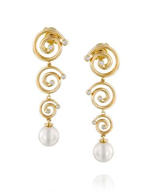 Nautilus 3 Spirals & Pearl Earrings