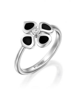 Violetto Black Enamel Ring