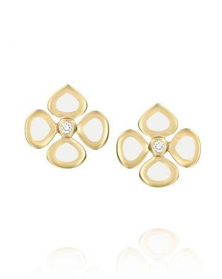 Violetto White Enamel Earrings