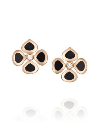 Violetto Black Enamel Earrings