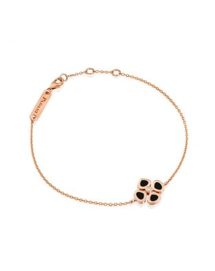 Violetto Flower Black Enamel Bracelet