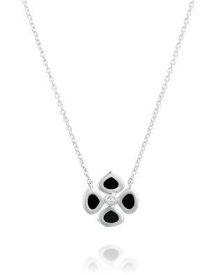 Violetto Black Enamel Necklace