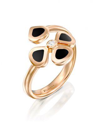 Violetto Black Enamel Open Ring