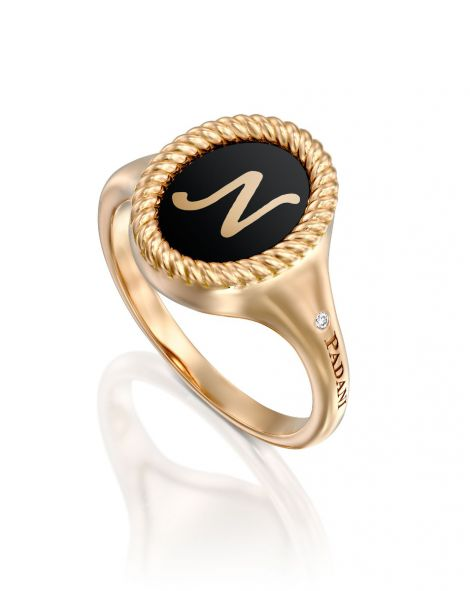 Black Enamel Letter Signet Ring