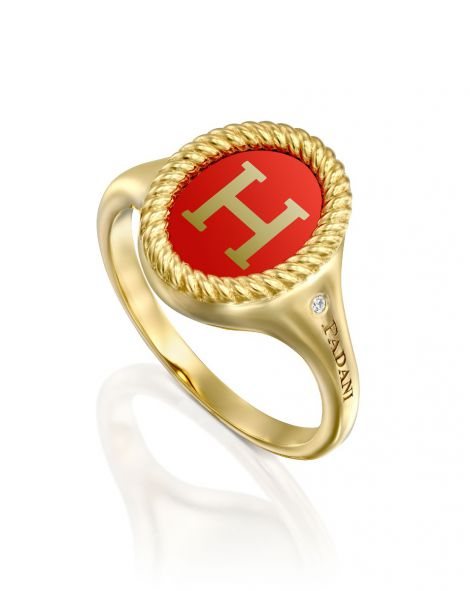 Red Enamel Letter Signet Ring