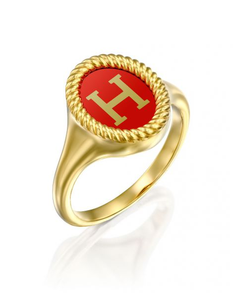 Red Enamel Letter Signet Ring