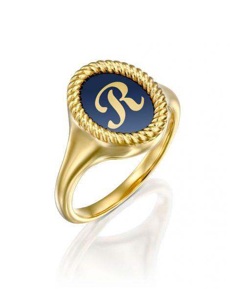 Blue Enamel Letter Signet Ring