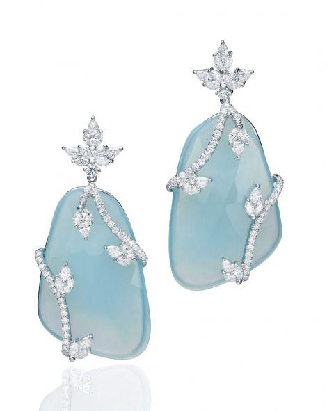 Malvene Light Blue Chalcedony Earrings