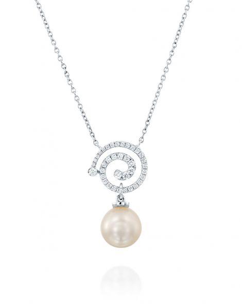 Nautilus Spiral Pearl & Diamonds Necklace