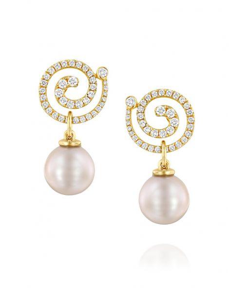 Nautilus Spiral Pearl & Diamonds Earrings