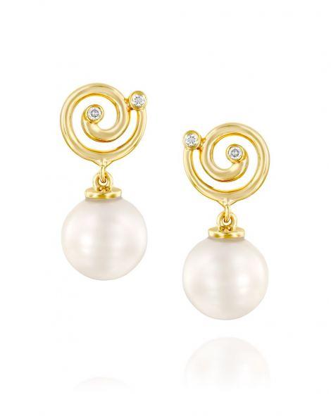 Nautilus Pearl & Spiral Earrings