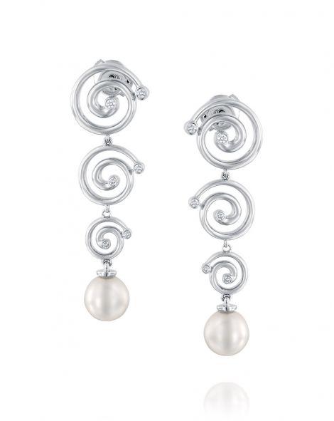 Nautilus 3 Spirals & Pearl Earrings