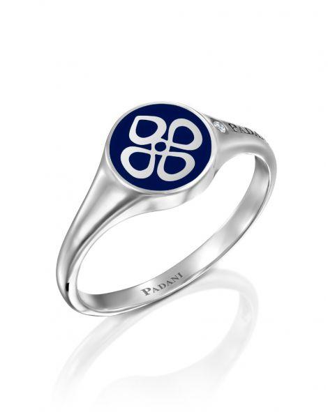 Blue Enamel Signet Ring