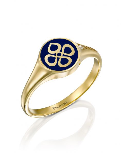 Blue Enamel Signet Ring