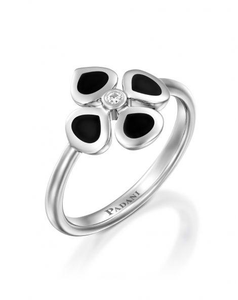 Violetto Black Enamel Ring