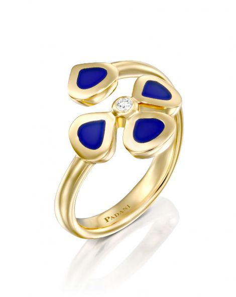 Violetto Blue Enamel Open Ring