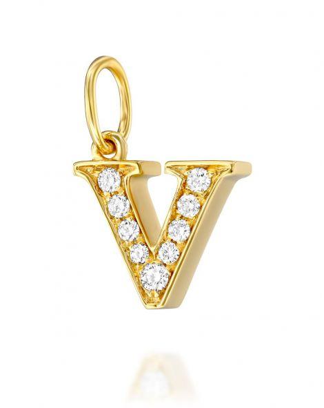 Letter V Diamond Pendant